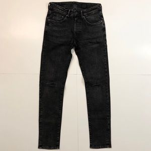 H&M BLACK WASHED DISTRESSED SKINNY JEANS